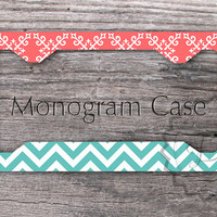 Personalized License Plate Frame - Tiffany blue chevron and Coral pattern custom car tag, front plate frame - 192