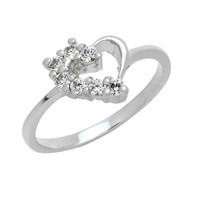 Swiss Diamond Promise Ring for Her 18k White by TrendyCZJewelry