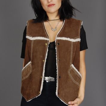 Goin' Out West Sherpa Suede Leather Vest