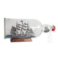 Flying Dutchman Model Ship in a Glass Bottle 11""