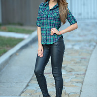Plaid Out Top - Green/Navy