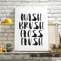 "WATERCOLOR PRINTABLE ART ""Wash Brush Floss Flush"" Print Black and White Typography Typographic Print Bathroom Decor Home Decor Dorm Decor"