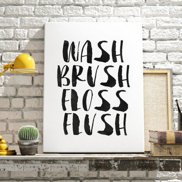 Watercolor printable art wash brush floss flush print black an