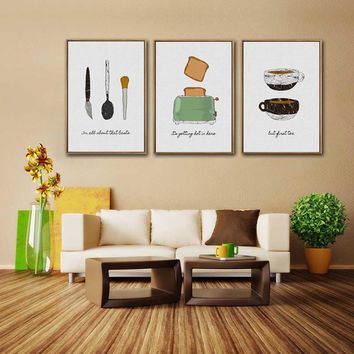 Nordic Minimalist Small Fresh Kitchen Bread Coffee Restaurant Dining Room Abstract Decorative Painting 3 Panels Modular Wall Art
