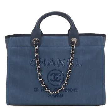 Chanel Large Navy Canvas With Sequins Deauville Tote