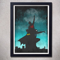 Original print superman batman spiderman comics digital city moon art silhouette poster