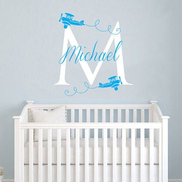 Airplane Wall Decal Name Monogram Vinyl Sticker Personalized Custom Name Biplane Clouds Decals Plane Kids Baby Name Nursery Room Decor AN603