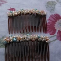 Baby Pink and Blue, Pearl and Crystal hair combs
