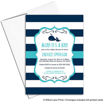 nautical baby shower invitations boy - printable or printed - navy teal turquoise (797)