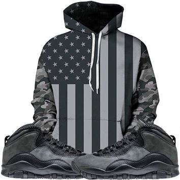 Jordan 10 Shadow Grey Hoodie - USA Flag