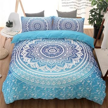 Bohemian Queen King Size Duvet Cover Set Blue Printing Quilt Cover Bed Linen boho bedding sets(no filling,no sheet)