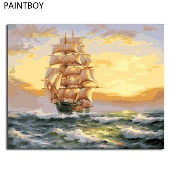 PAINTBOY Framed DIY Painting By Numbers DIY Digital Canvas Oil Painting Home Decoration For Living Room Wall Art Seascape