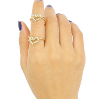 Golden Heart Shape Rehinestone Detail Ring