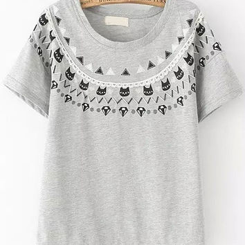 Grey Short Sleeve Beaded Cats Print Graphic T-shirt