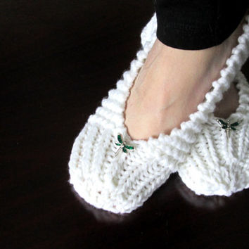 Hand Knitted Womens Slippers in White with Green Dragonfly / One Size Fits Most / Non Skid Sole / Easy Care / Ready to Ship