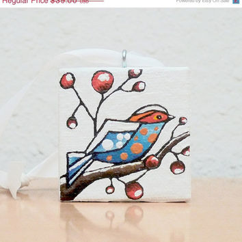 Hand Painted Christmas Tree Ornament, Polka Dot Bird Painting, Bird Art Christmas Decor, Tree Decoration, Art Gift 2x2