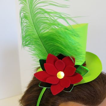 Poinsettia Fascinator Hat, Festive Top Hat On Headband, Christmas Accessory, Popular Gift for Teen Girl