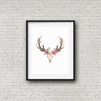 printable art, Deer skull art, tribal nursery, cow skull wall art, boho wall art, tribal print, floral antler, tribal wall art, boho print