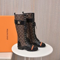 "LV Louis Vuitton Women Brown ""Monogram Empriente"" LACE-UP knight Snow winter boots heels shoes"