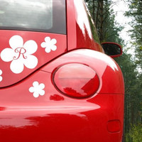 Flower Car Decal with Initial