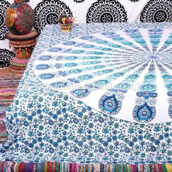 Peacock Boho Mandala Bohemian Indian Bedspread Magical Thinking Tapestry