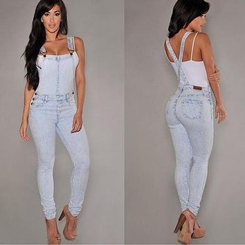 Slim fit sexy denim overall jeans
