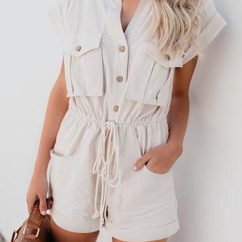 On The Hunt Cotton Pocketed Drawstring Romper - Sand