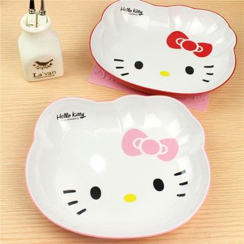 Kawaii Hello Kitty Cat face Melamine Cartoon Dinnerware Four-frame plate Fruit plate plate tray plate breakfast tray Dining