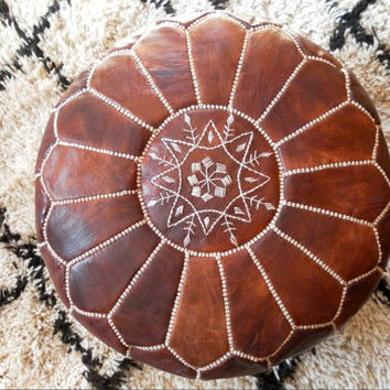 MOROCCAN POUF :hand stitched / embroidered Natural brown tan