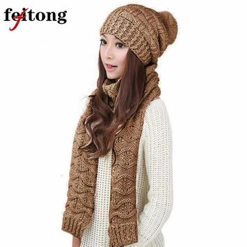 Feitong Women's Woolen Scarf And Hat Set