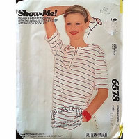 Misses Knit T Shirt McCalls 6578 Pattern Vintage 1980s Size 12 14 16 Retro c1367