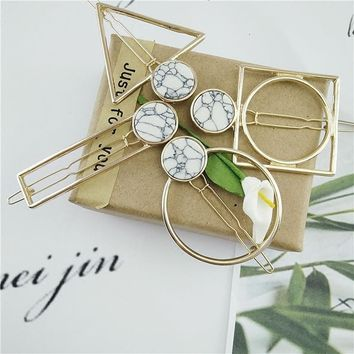 Designers unique marble geometric modelling clip hairpin Fashion ladies fashion gift card Send free