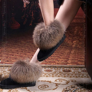 Natural Big Fox Fur Women's Winter Snow Boots Top Quality Cotton Boots Winter Cow Muscle  Round Toe 100% Genuine Leather Boots