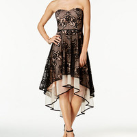 City Studios Juniors' Contrast Lace Strapless Fit & Flare Dress - Juniors Birthday Shop - Macy's