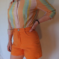80's Bongo Neon Orange High Waisted Shorts Vintage Extra Small Size 0