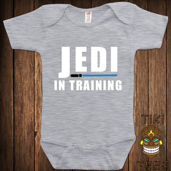 Cute Shower Baby Infant Bodysuit Clothes Romper One-piece One Piece Jedi In Training The Force Joke Humor Funny Geek Nerd Adorable
