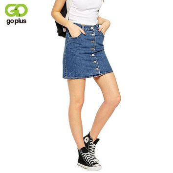 DCCKDZ2 GOPLUS 2017 Summer Style New Fashion Short Jeans Skirt Women Faldas Midi Denim Skirts High Waist Sheds Tutu American Apparel