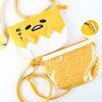 20*15cm Gudetama Lazy Egg Eggs Jun Egg Lazy Balls Yolk Jun Brother Plush Cartoon Lanyard Bag