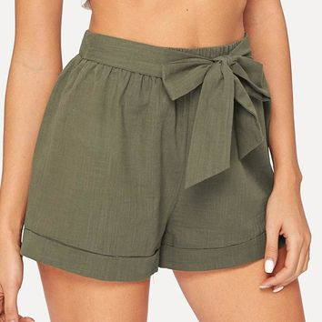 Belted Elastic Waist Shorts Fitness Swish Women Solid Mid Waist Shorts Fashion Shorts