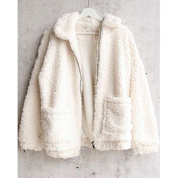 everly - glamorous faux sherpa teddy coat in ivory