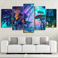 Unframed 5 pieces Mushrooms House - Psychedelic Trippy Art Canvas Poster Print Abstract Wall Home Decor