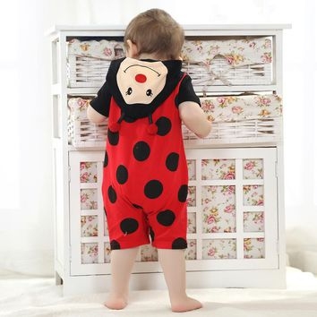 Summer Baby Clothes Short Romper Cartoon Animal red ladybug Design Cosplay Photo Props Jumpsuit Newborn Infant Sleepers Hooded