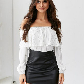 White Stripe Off the Shoulder Ruffles Long Sleeve Blouse