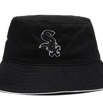 qiyif Chicago White Sox Full Leather Bucket Hats