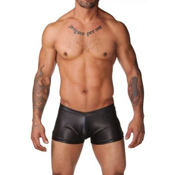 Men Sexy Low-rise Wet Look Faux Leather Tight Trunks Swimming Boxer Swimwear Swimsuits Shorts