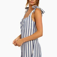 Zoey Shoulder Tie Romper - Blue & White Stripe Print