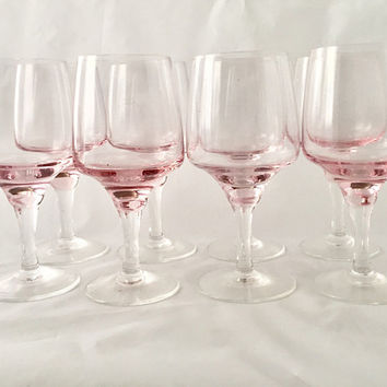 Pink Wine Glasses, Set of 8 Sasaki Harmony Pink Crystal Stemware, Pink Goblets