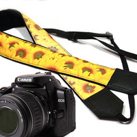 Sunflowers Camera strap.  DSLR Camera Strap. Camera accessories. Canon camera strap. Nikon camera strap.