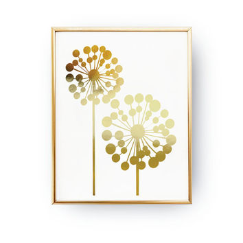 Big Dandelion Print, Real Gold Foil Print, Flower Wall Art, MidCentury Modern, Dandelion Illustration, Home Decor, Botanical Art, Floral Art