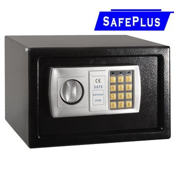 """Black 12.5"""" Electronic Keypad Digital Lock Safe Box The digital safe box is a great security room for quick depository such as cash, paper work or employee turnover."""
